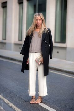 Wide leg cropped trousers and sandals.