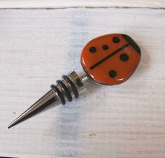 Ladybug Wine Bottle Stop on Handmade Artists' Shop June Bug, Ladybug Party, Wine Bottle Stoppers, Sweet Pic, Lady Bugs, New Gadgets, Black Spot, Bar