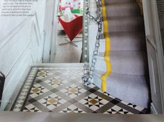 Front hall floor tile Stairs And Doors, Hall Flooring, Victorian Tiles, Tile Floor, Entrance, New Homes, Kids Rugs, Interiors, House