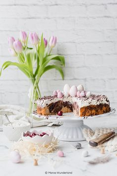 Maras Wunderland Easter Food, Easter Recipes, Marzipan Cake, Kakao, Cherry, Journal, Table Decorations, Baking, Desserts