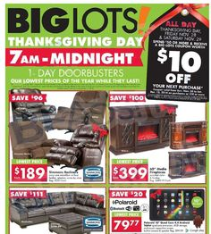 The Big Lots Black Friday Ad Scan has been released and you can view it HERE. They will be opening their doors at on Thanksgiving and will have one day Friday Day, Black Friday Ads, Free Printable Coupons, Family Events, Big, Giveaways, Thanksgiving, Articles, Awesome
