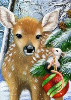 Fawn, mouse and Christmas tree. Christmas Scenes, Christmas Animals, Christmas Pictures, Christmas Art, Christmas Greetings, Christmas Tree Ornaments, Christmas Drawing, Christmas Paintings, Animal Paintings