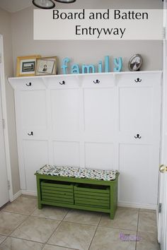 Board and Batten Entryway with hooks and small shelf.