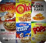 top 10 cereals most likely to contain Monsanto's GMO corn - can cause cancer and many are children's cereals!!!