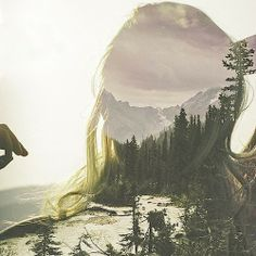 collage, forest, green, earth, nature, trees, girl, imagination, soul, art