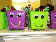 Kids Birthday party favors..the lil monters are too cute.  Reminds me of bags I made for Halloween once.