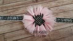 Black Lace Headband with Pastel Pink Frayed Chiffon Flower with Polka Dot Spider - pinned by pin4etsy.com