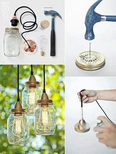 Make your own hanging lights with mason jars Mason Jar Crafts, Mason Jar Lamp, Bottle Crafts, Mason Jar Chandelier, Decor Crafts, Diy Home Decor, Diy Crafts, Deco Restaurant, Mason Jar Lighting