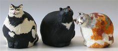 Pulpa y papel escultura gatos Pepper Luna y Damas - pulpa y papel y acrílico