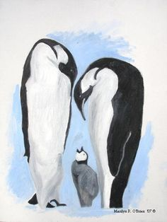 2 Penguin Greeting Cards with Envelopes Included by ArtByMarilyn, $4.00