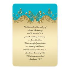 Scuba Blue Gold Ornate Butterflies Wedding Reception Only Card | Aqua Turquoise Curacao Scuba Pacific Peacock Blue Wedding