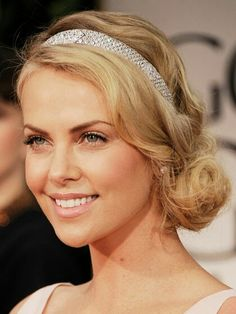Another view of hairband hairstyle Charlize Theron, Messy Bun Hairstyles, Pretty Hairstyles, Wedding Hairstyles, Messy Updo, Black Hairstyles, Wedding Hair And Makeup, Bridal Hair, Hair Makeup