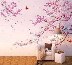 Cherry blossom tree wall decals with butterfly wall stickers home decor decal with butterfly for living room small tree decal  This decal has two