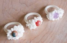 one of a kind - white glass cluster rings