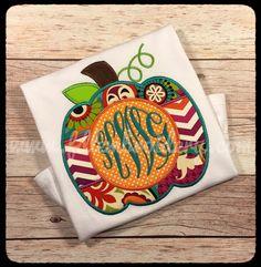 Fall Pumpkin Monogram Applique Shirt