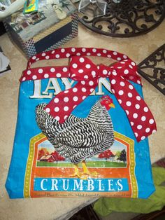 OOAK Chicken Feed Bag Purse With Polka Dot Ribbon by TheCozyNose