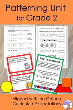 This Patterning Unit for Grade 2 contains lesson ideas, posters, task cards, worksheets, a word search and a unit test. It is based on the Ontario Curriculum Expectations. 2nd Grade Worksheets, 1st Grade Math, Kindergarten Worksheets, Second Grade, Grade 1, Math Literacy, Math Classroom, Teaching Math, Numeracy