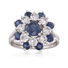 C. 1970 Vintage Tiffany Jewelry 1.50 ct. t.w. Sapphire and 1.50 ct. t.w. Floral Diamond Cluster Ring in Platinum. Size 6 $4896.50