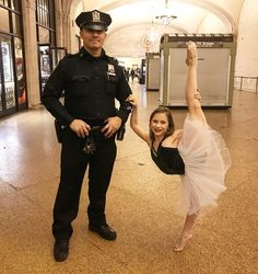 It's Tutu Tuesday Everybody!  Showing appreciation for all of the men and and women who keep us safe everyday!  Leo by: @fivedancewear  #newyork#newyorkcity#grandcentralstation#NYPD#photoshoot#ballet#ballerina#safetyfirst