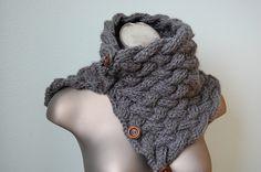 knitting PDF PATTERN - Nora convertible cowl scarf neckwarmer - PDF knitting pattern. $4.50, via Etsy.