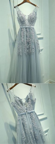 Gray Chiffon Long V-neck Evening Dresses, A Line Applique Prom Dress #gray #long #prom #tulle #evening #OKDRESSES