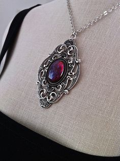 Victorian Gothic Necklace Dragons Breath Opal Pendant  Goth Bridal, Gothic Wedding, Victorian Jewelry, Bridesmaid Gift, Mirror on the Wall