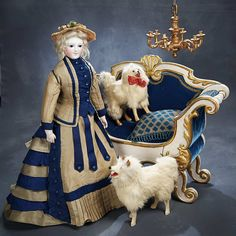 Ensemble - The Hanne Büktas Collection: 163 Two French Miniature Salon Dogs Victorian Dolls, Vintage Dolls, Doll Display, China Dolls, Antique Toys, Antique Quilts, Vintage Quilts, Doll Costume, Old Dolls
