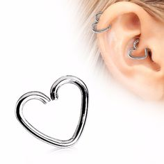 316L Surgical Steel Heart Shaped Cartilage Earring