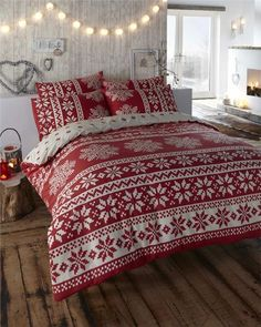 NEW RED & CREAM ALPINE BEDDING - KING SIZE QUILT DUVET COVER BED SET in Home, Furniture & DIY, Bedding, Bed Linens & Sets | eBay