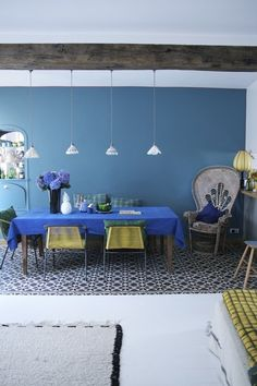 Dining Colors: Moody Blues and Yellow — Dining Room Inspiration