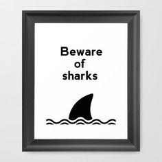 Bathroom Art, Beware of Sharks, Ocean Art, Shark Poster, Bathroom Decor, Bathroom Sign, Funny Poster, Shark Decor