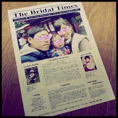 ブライダル新聞完成! 私のブライダル新聞はプロフィール、おいたち、子どものこと、席次表、メニュー全てが入っているとても大切なもの(*^^*) 前撮りの写真をのせたかったけど、しょうがない! #プレ花嫁#ブライダル新聞#プロフィール#席次表#メニュー