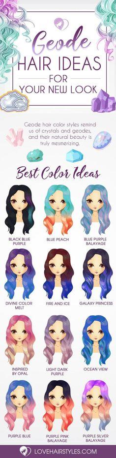 Nouvelle Tendance Coiffures Pour Femme  2017 / 2018   Les styles de couleurs de cheveux Geode nous rappellent des cristaux et des géodes et leur beau naturel