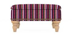 Buy Sherlock With Studs Storage Footstool Chenille Stripe PinkGreen Turned-Light from the Next UK online shop