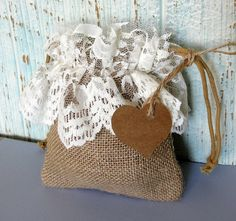 Rustic Chic Burlap Favor Bag with Lace & Heart Tag, Birthday Shower Party or Wedding, Set of 6