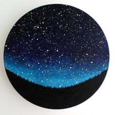 Night Sky Circle Painting by TreeHollowDesigns on Etsy