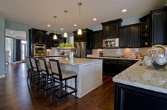 kitchens with two different colored cabinets | ... at Creighton Farms - note the different cabinet color on the island