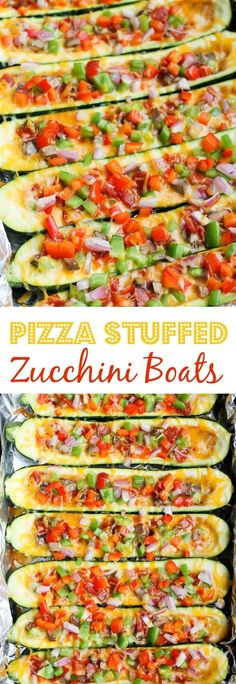 Hypoallergenic Pet Dog Food Items Diet Program Pizza Stuffed Zucchini Boats - This Easy Zucchini Recipe Is The Perfect Summer Grain-Free And Gluten-Free Dinner It Takes Almost No Time To Make And Can Be Customized With Your Favorite Toppings. Easy Zucchini Recipes, Healthy Dessert Recipes, Clean Eating Recipes, Lunch Recipes, Healthy Dinner Recipes, Healthy Meals, Vegetarian Meals, Pizza Recipes, Eating Healthy