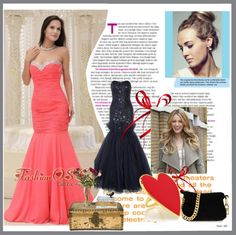 """""""Mermaid Sweetheart For Coral Red Prom Dress Beaded Decorate Bust"""" by fancydressesforyou on Polyvore"""