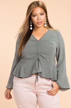 Ruched Ruffle Stripe Blouse