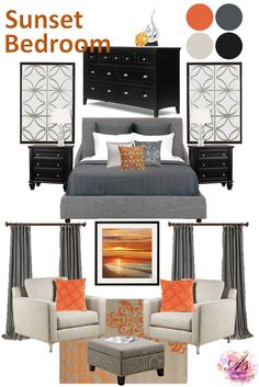 Sunset Inspired Bedroom Moodboard A perfect color palette for a bedroom, sunset. Fiery oranges, with soft grey and midnight black. As long as the vibrant orange is used sparingly in a few accents …