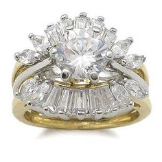 CZ Wedding Rings - Two Tone CZ Engagement Ring with Wedding Ring Guard (Jewelry)  http://www.1-in-30.com/crt.php?p=B004QVK9G4  B004QVK9G4