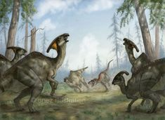 Parasaurolophus walkeri and Gorgosaurus libratus by onez82 on DeviantArt