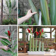 Lindo arranjo de flores usando apenas os restos da poda do jardim tropical - Tropical flower ornaments