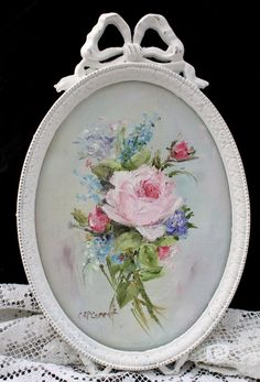 French Schoo, Century , Two Aubusson designs for sofa backs of sprays of mixed flowers within ribboned and floral borders (one illustrated) Romantic Shabby Chic, Romantic Roses, Floral Vintage, Vintage Flowers, Fabric Roses, China Painting, Floral Border, Beaded Flowers, Watercolor Flowers