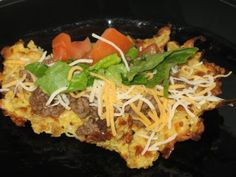 tostada -- your choice:  cauliflower or zucchini crust.  Very low carb, induction friendly.