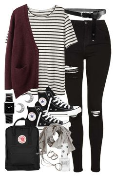 """""""Outfit for university with a Kanken bag"""" by ferned ❤ liked on Polyvore featuring Topshop, T By Alexander Wang, Acne Studios, Converse, Fjällräven, ASOS, Casetify and Forever 21"""
