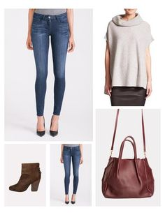 Skinnies two different ways - one with a gorgeous cashmere cowlneck sweater (comes in other colors, too) and fabulous R&B booties...also love pairing with a great open cardigan and an everyday pair of Loeffler Randall ankle boots. Effortless and chic!