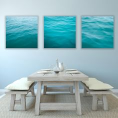 Large Set Abstract Ocean Canvas Wraps, Cool Teal Blue, Large, Ocean Photography, Three, Coastal Decor, Beach Wall Art on Etsy, $600.00