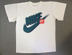 14449d1a Vintage NIKE Shirt 90's/ Original HUGE SWOOSH Shadow Print Nike Air Box  Tshirt/ Sneakers UsA Made Cotton X-Large Excellent